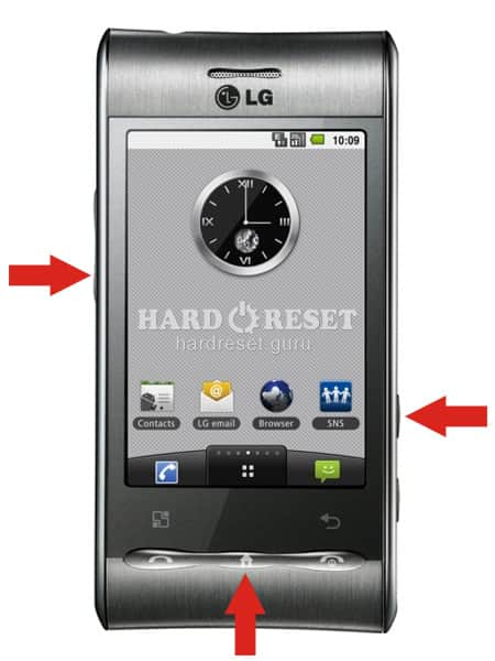 Hard Reset keys LG GT540G Optimus