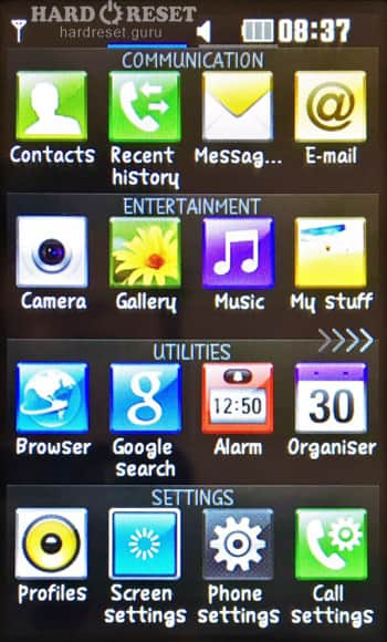Settings menu LG GD330