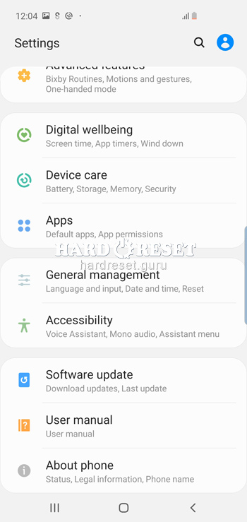General settings on Samsung Galaxy S10 and similar series