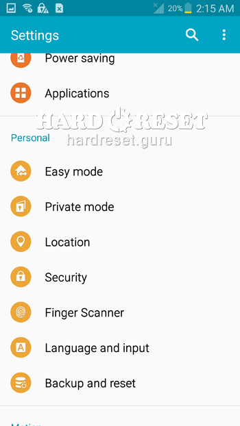 General Settings Samsung Galaxy Note 4