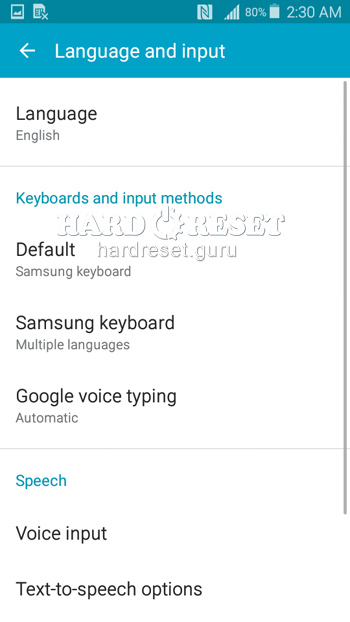 Language and input Samsung Galaxy Grand Prime