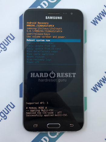 Factory data reset Samsung Galaxy J3