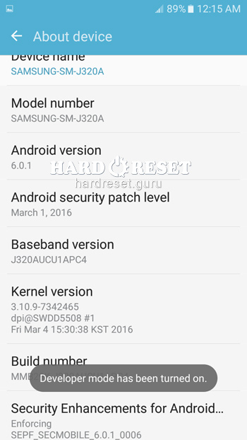 Software info Samsung Galaxy J3