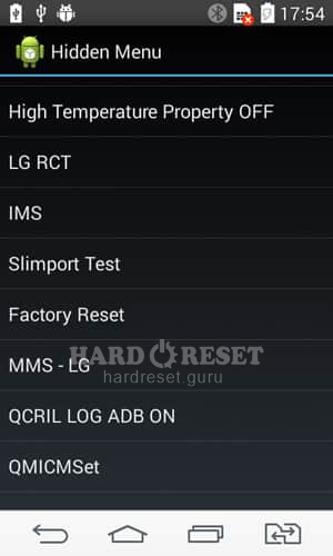 Factory Reset through code on LG G6